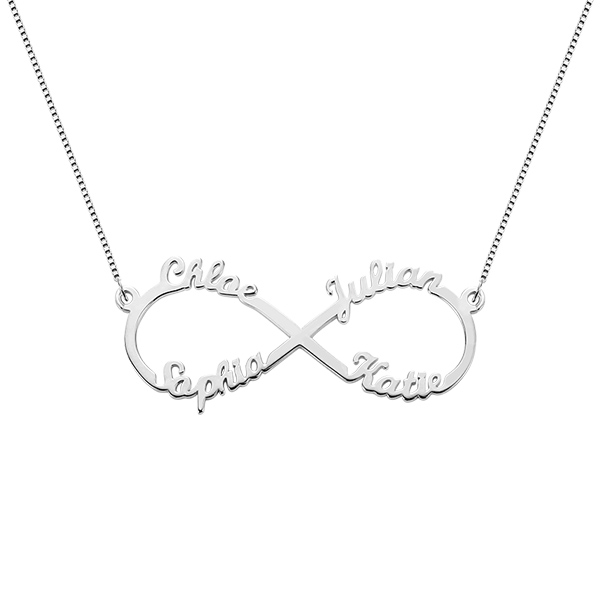 Personalized Infinity Symbol Necklace 4 Names Sterling Silver