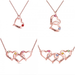 Personalized Intertwined Hearts Necklace with Birthstone in Rose Gold