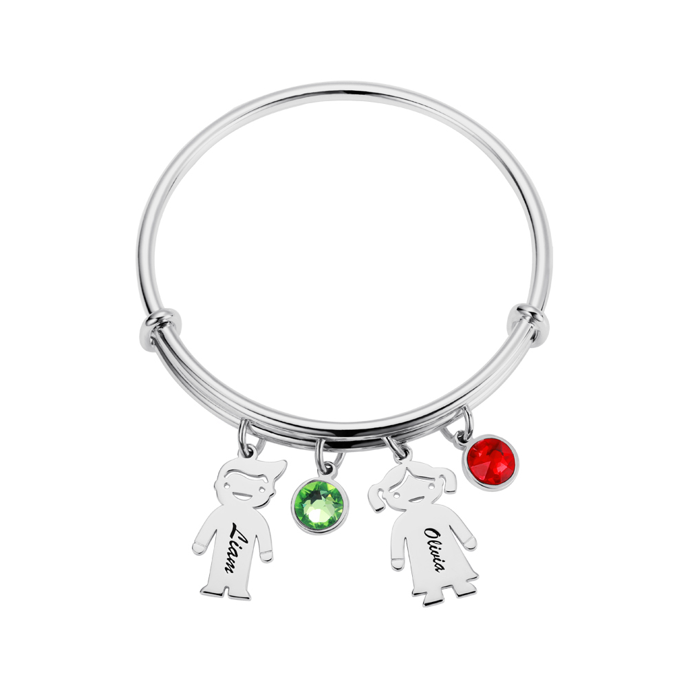 Personalized Children Charm with Birthstone Bracelet