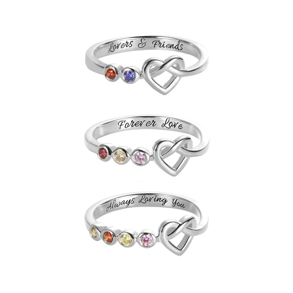 Personalized Birthstone Heart Ring in Silver
