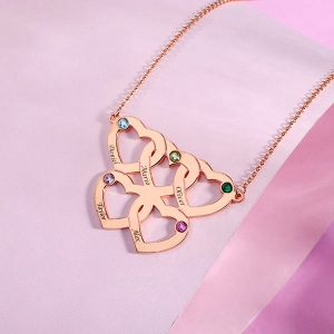 Engraved Five Hearts Necklace With Birthstones In Rose Gold