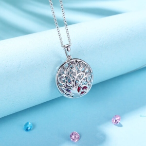 Round Cage Necklace With Birthstone Platinum Plated