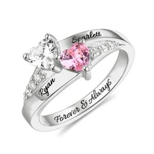 2019 Mother Day Gift Heart Birthstone Ring In Silver