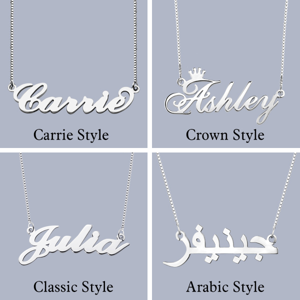 Personalized Stylish Name Necklace In Silver
