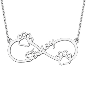 Cute Infinity Name Necklace With Dog Paw Sterling Silver