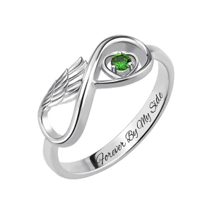 Birthstone Infinity Ring with Angel Wing Platinum Plated