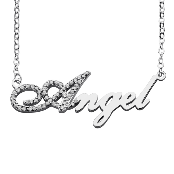Initial Full Birthstone Script Name Necklace
