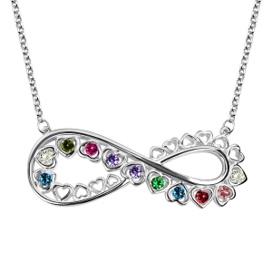 Infinity Necklace With Full Heart Birthstones