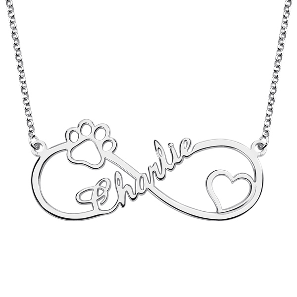 Customized Infinity Paw Print Name Necklace Silver