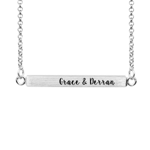 Bar Necklace Engravable Name Four Sides In Silver