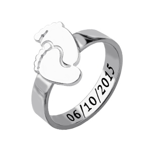 Engraved Birthday Baby Feet Ring