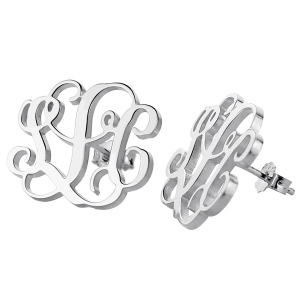 Sterling Silver Fancy Monogram Earring