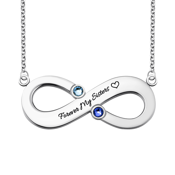 Infinity Necklace with Two Birthstones Engraved Saying