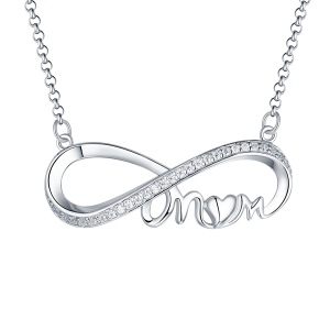 Personalized Crystal Mother's Infinity Necklace Sterling Silver